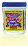 white container with blue lid & happy campers blue, red & yellow logo