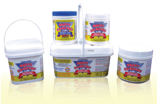 5 white containers of various treatments with yellow, blue & red logo